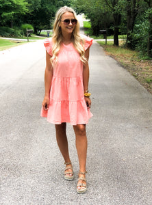 Katie Tiered Coral Dress - The Catalyst Mercantile