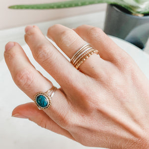 Soulmate Beaded Stacking Ring Gold