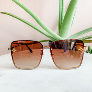Golden Bee Brown Square Sunglasses