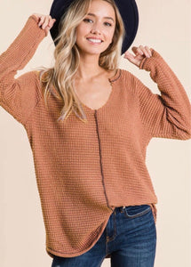 Rust Oversized Soft Waffle Knit Top