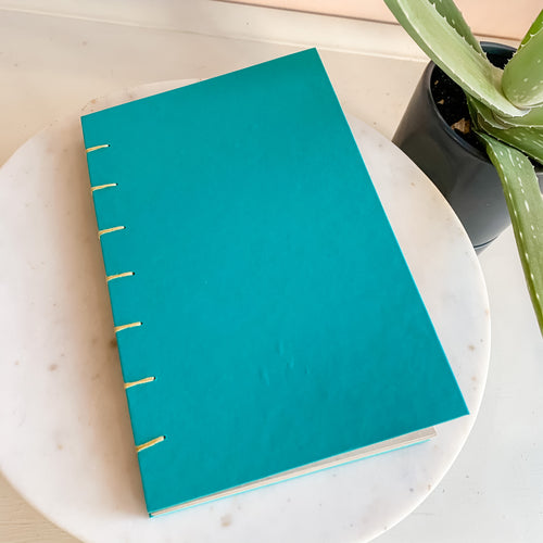 Bright Blue Natural Pages Hand Bound Journal