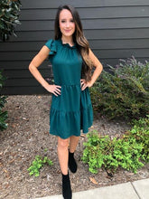 Load image into Gallery viewer, Hunter Green Tiered Dress