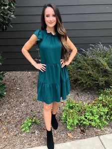 Hunter Green Tiered Dress