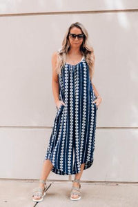 Mamacita Boho Printed Jumpsuit with Pockets - The Catalyst Mercantile