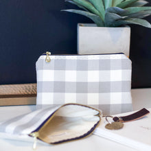 Load image into Gallery viewer, Gray Checked Zipper Pouch - The Catalyst Mercantile