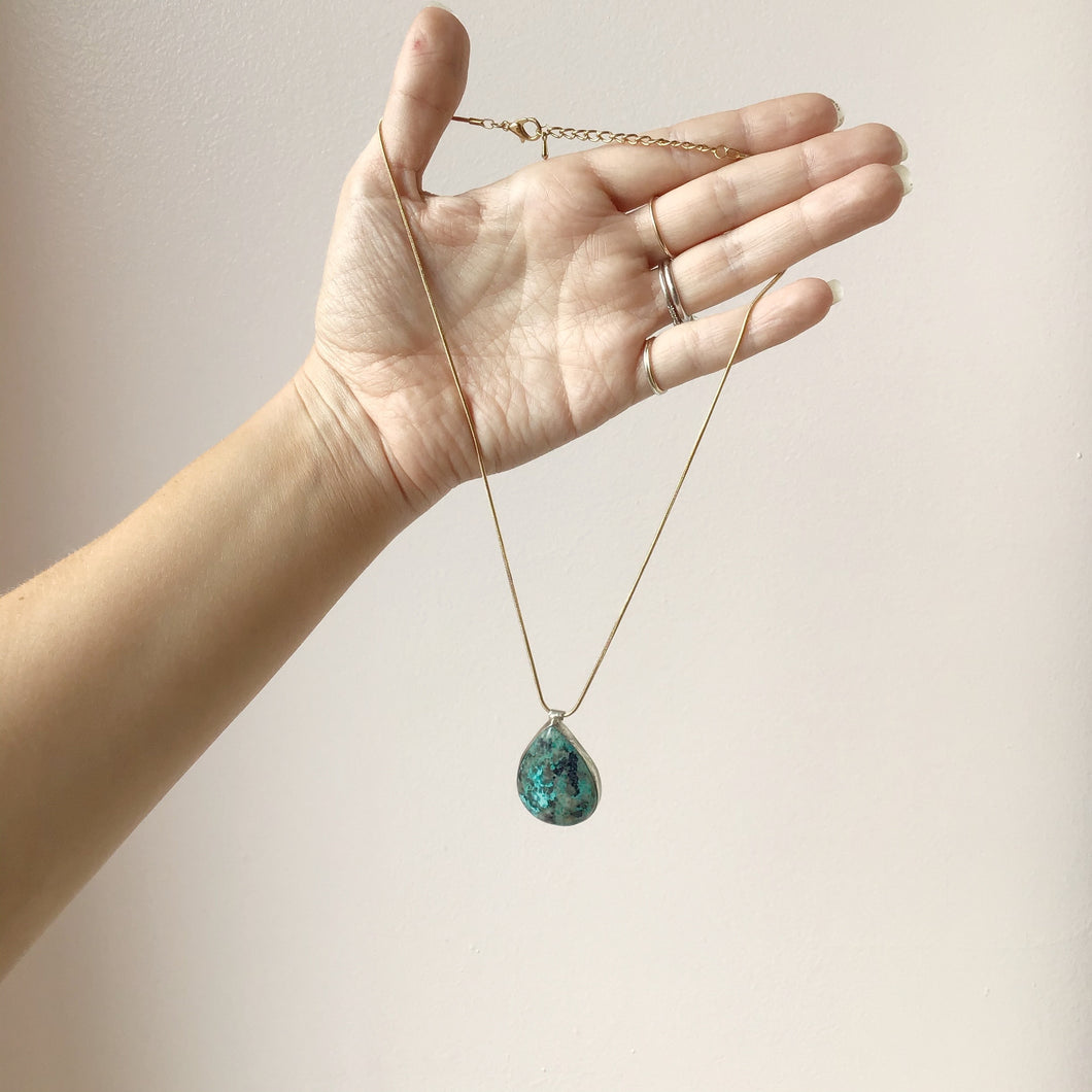 Large Turquoise Pendant Set in Sterling Silver on a 14k Gold Fill Chain - The Catalyst Mercantile