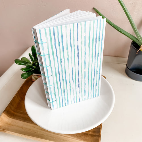 Watercolor Stripes Hand Bound Journal