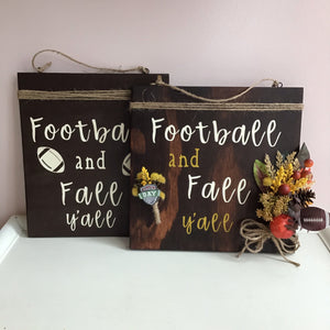 Football and Fall Y'all Door Hanging