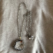 Load image into Gallery viewer, Grey Druzy and Pavé Statement Necklace - The Catalyst Mercantile