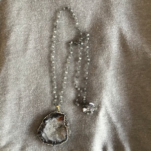 Grey Druzy and Pavé Statement Necklace - The Catalyst Mercantile