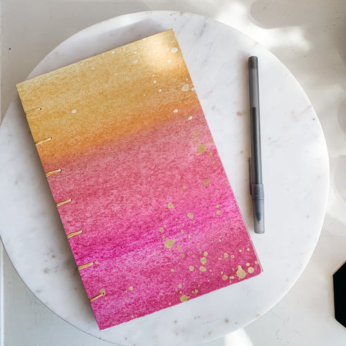 Pink and Yellow Ombre Hand Bound Journal