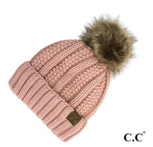Load image into Gallery viewer, Fur Pom Pom Beanie