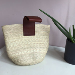 Coral Mini Straw Tote Bag