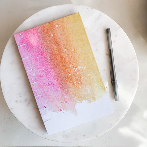 Inky Pink and Yellow Hand Bound Journal