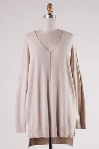 Mandie Vneck Tunic Sweater - The Catalyst Mercantile
