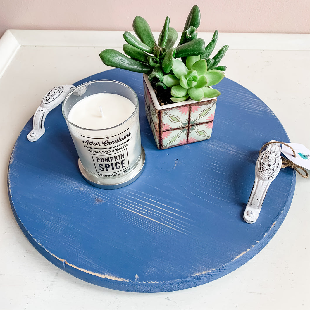 Blue Round Coffee Table Tray