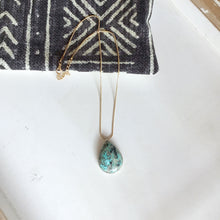 Load image into Gallery viewer, Large Turquoise Pendant Set in Sterling Silver on a 14k Gold Fill Chain - The Catalyst Mercantile