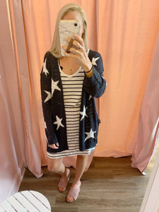 Navy Star Cardigan with Pockets - The Catalyst Mercantile