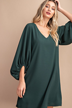 Load image into Gallery viewer, Minted V-Neck Bubble Sleeve Dress