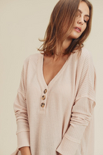 Load image into Gallery viewer, Isabella Waffle Knit Henley - The Catalyst Mercantile
