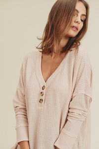Isabella Waffle Knit Henley - The Catalyst Mercantile