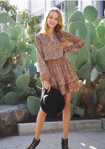 Smocked Waist Cheetah Print Dress