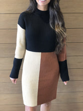 Load image into Gallery viewer, Tri-Color Color Block Sweater Dress