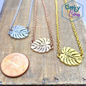You Grow Girl Monstera Necklace
