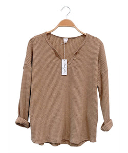 WAFFLE SWEATER PULLOVER TOP