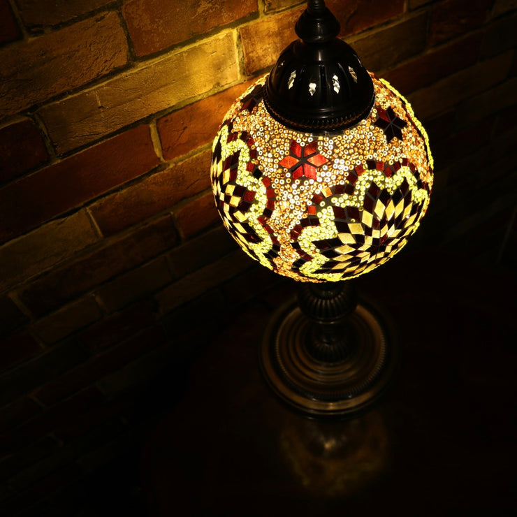 Mosaic Table or Floor Lamp in Amber