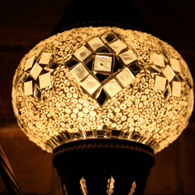 Mosaic Table Lamp in White, Swan Neck