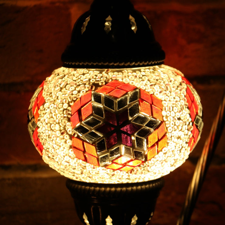 Mosaic Table Lamp in Pale Pink, Red, & Violet, Swan Neck