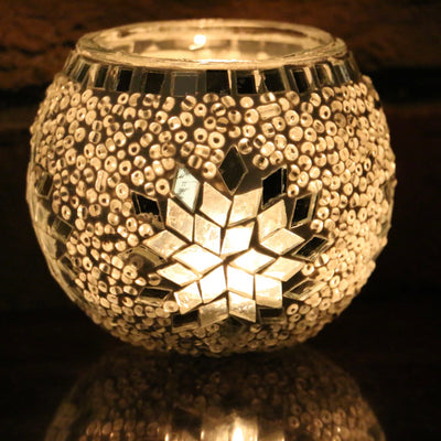Mosaic Candleholder in White