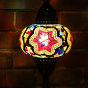 Mosaic Table Lamp Red Star & MultiColor, 5 Styles Available
