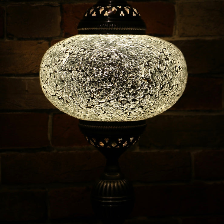 Crackle Glass Table Lamp in White, 3 Styles Available, Large