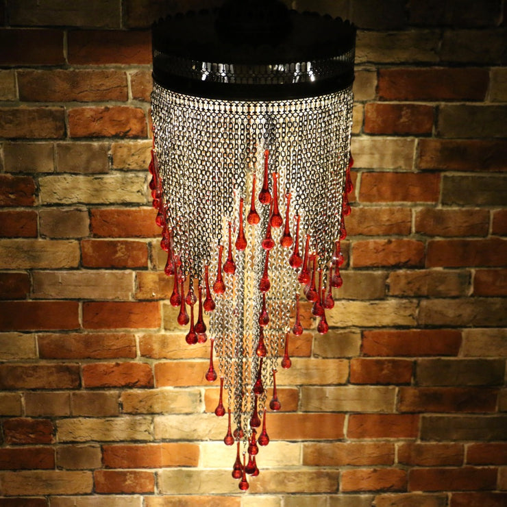 Blown Glass Red Droplet & Chain Chandelier