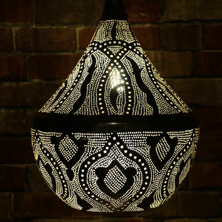 Hand-Punctured Nickel-Plated Brass Hanging Lamp
