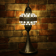 Pierced Metal Table Lamp with Glass Jewels, 5 Styles Available