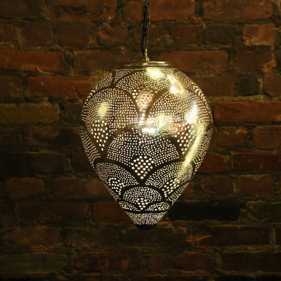Hanging Metal Lamp, Nickel-Plated & Hand Pierced, Drop Shape