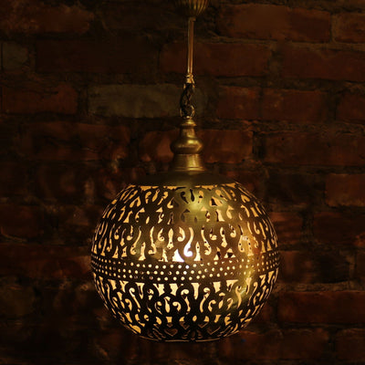Hanging Metal Lamp, Gold Tone, Laser-Cut