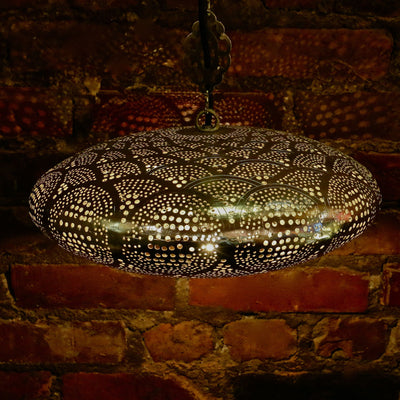 Hanging Metal Lamp, Nickel-Plated & Hand Pierced