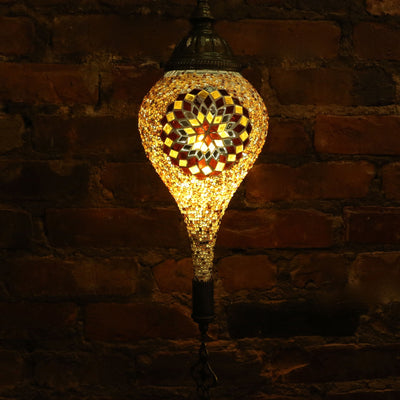 Hanging Mosaic Lamp in Amber, Tear Drop