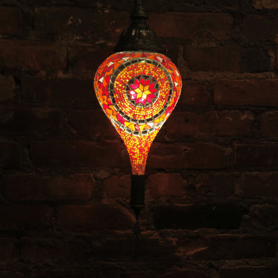 Hanging Mosaic Lamp in Orange & Red, Tear Drop