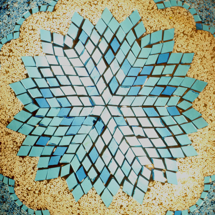 MOSAIC FLUSH MOUNT FOR CEILING OR WALL LAMP IN AQUA BLUE&WHITE