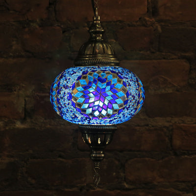 Hanging Mosaic Lamp in Blues