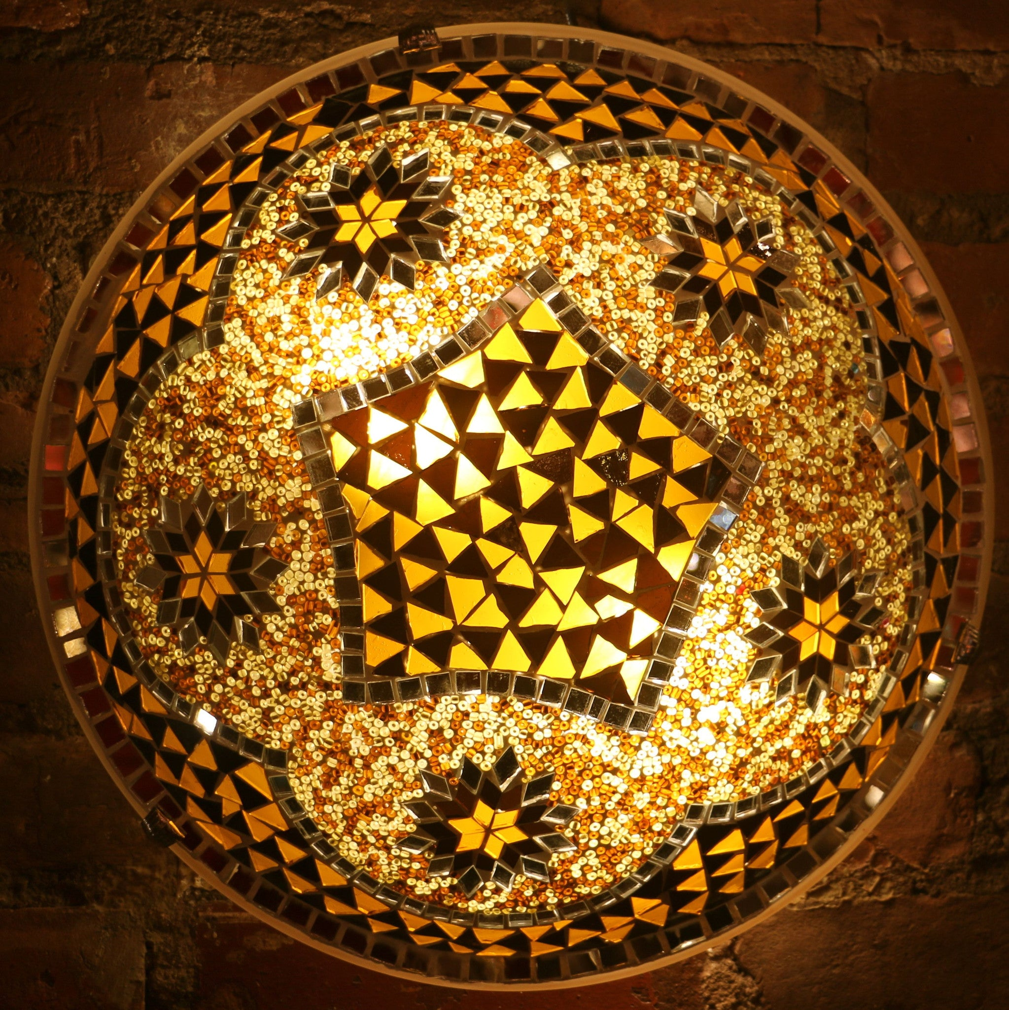 Mosaic Flush Mount for Ceiling or Wall Lamp in Amber Tones | mosaic ...