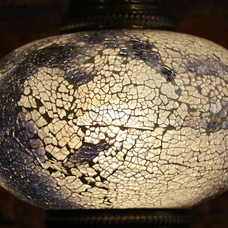 Crackle Glass Table Lamp in White and Blue