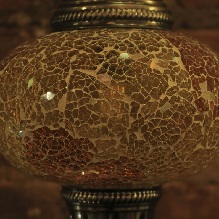 Crackle Glass Hanging Lamp in Golden Amber