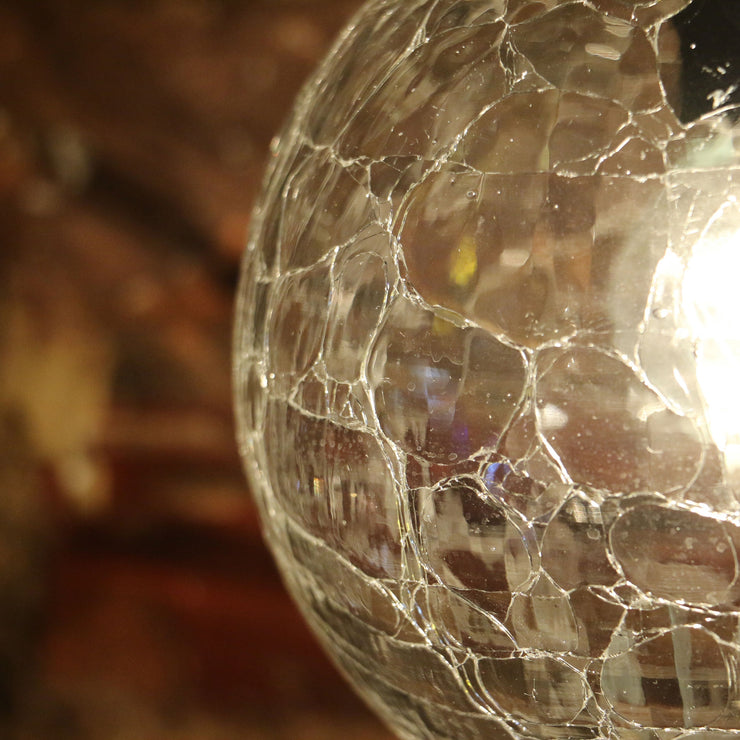 Crackle Glass Hanging Lamp Clear Globe (SETS AVAILABLE)