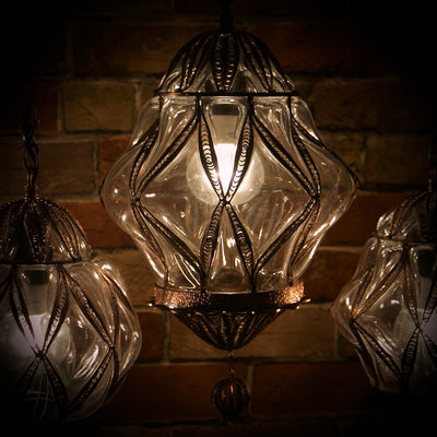 Hanging Glass Diamond-Shaped Lamp, Large